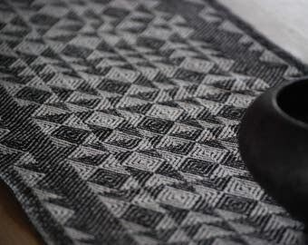 Handwoven Black and White Linen Table Runner
