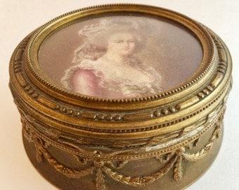 Antique Ormolu Powder Box, Trinket Cache Box, Dore' Jewelry Casket in Gilt Bronze, Brass with Miniatures