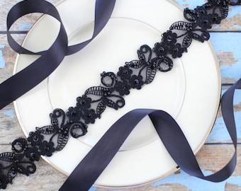 Black  Beaded Lace with Satin Ribbon Sash // Bridal Sash , Bridesmaid Sash, Head tie, Headband , Wedding Sash Belt  // SH-41