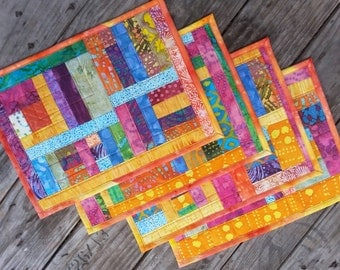 Set of four quilted placemats handmade washable reversible one of a kind ecofriendly gift for graduation housewarming wedding baby shower