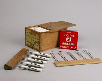 Music Teacher Supplies, Two Staff Line Scribes, J L Hammet Co, Penmanship Teaching, Wood Box of Chalk, Small Box of Colored Chalk