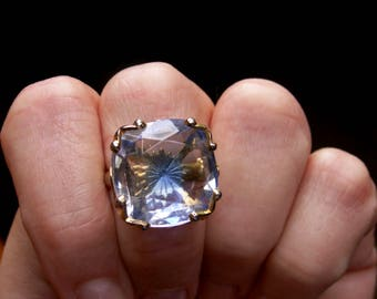 Emmons Faceted Glass Reverse Carved Starburst Gold Tone Filigree Statement Ring Adjustable Size Designer Signed Jewelry