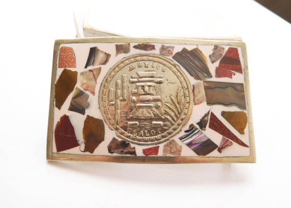 Vintage Tlaloc Aztec Rain God Mexico Silver Gemstone Mosaic Inlay Belt Buckle V8
