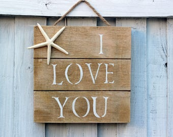 I love you Distressed Wood Picture with Starfish