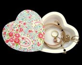 Heart Jewellery Box with Swivel Lid  Decoupage Jewellery Box  Pink and Blue Floral Paisley Trinket Box