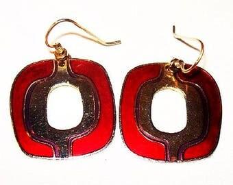 """Laurel Burch Red Gold Enamel Earrings Signed French Hooks Pierced Ears Gold Metal 2"""" Vintage"""