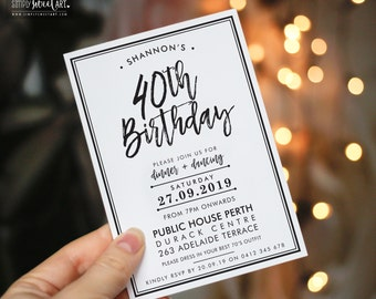 BY341 DIGITAL fortieth Birthday Party Invitation - modern minimal hand lettered simple BLACK TIE stylish invite printable 18th 30th 40th