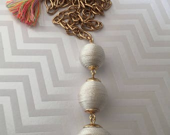 Bon Bon Necklace Pendant, Boho Jewelry, Tri Ball Necklace, Tassel Necklace