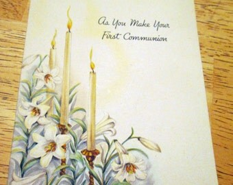 Vintage First Communion greeting card by Hallmark, 1940s