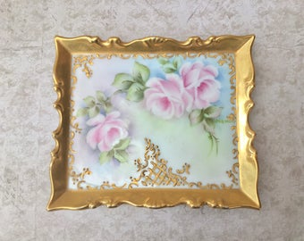 Beautiful Little Hand Painted Porcelain Trinket Dish or Tray with Pink Roses