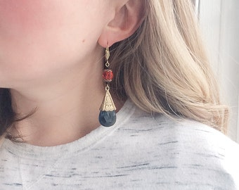 1920s Czech Glass Earrings Boho Art Deco Jewelry / Bohemian Smoky Blue Red / Pressed Glass Crystal Style dangle drop / Genuine