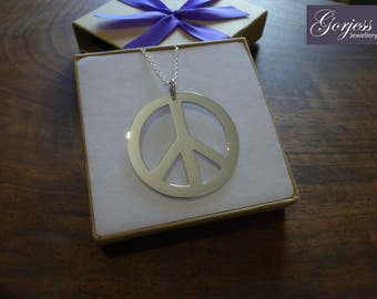 Large Peace Symbol, Silver Handmade Pendant - Ban The Bomb Necklace