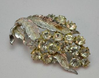 1950s Diamante Leaf Dress Brooch