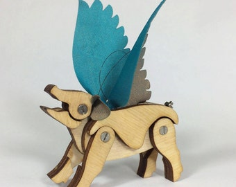 Articulated Flying Pig with Turquoise and Gold Wings