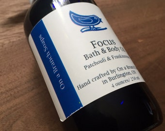 Focus Bath and Body Oil.  Patchouli & Frankincense.  Essential Oils.  On a Branch Soaps