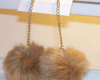 "Beige furry pom pom earrings, gold chain link, snowballs are 4"" around, Free standard USA shipping only, #E23"