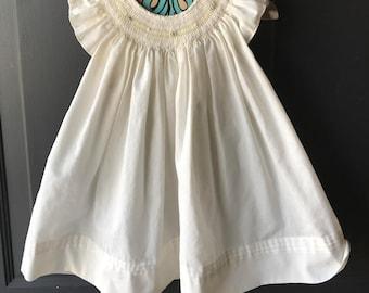 Vintage smocked flutter sleeve dress 9-12 months