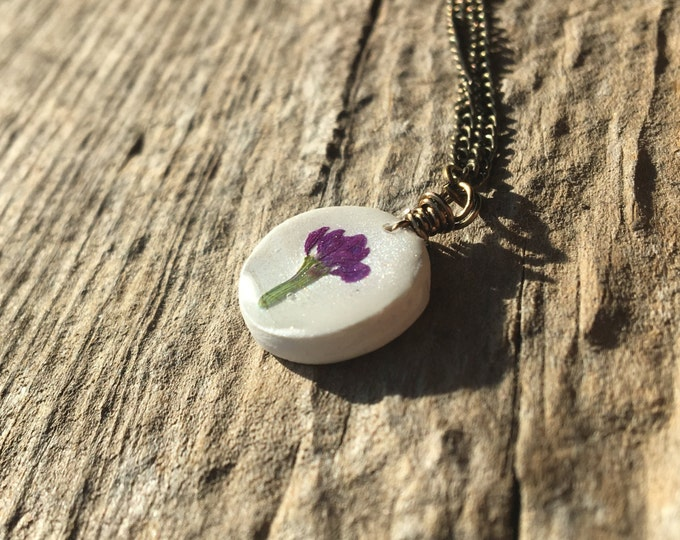 Round Mexican Heather Purple Real Flower Necklace Jewelry