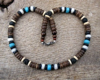 Mens surfer necklace, dyed bone, black lava stone and coconut shell beads, natural materials, on strong cord, handmade, tribal style, OOAK