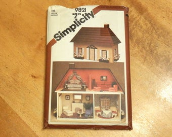 Uncut Simplicity 9821 Doll House & Furniture Crafts Sewing Pattern