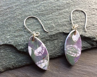Drop earrings - Heather colours - Batik style - Polymer clay earrings