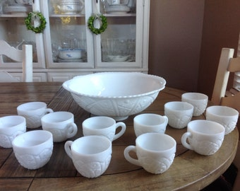 Vintage White Milk Glass Punch Bowl Set 12 Cups by McKee Jeannette PA