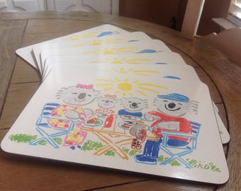 Ken Done Koala Picnic Placemats Set of 6 made exclusively for Jason Products LTD Auckland, New Zealand