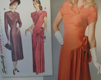 Simplicity 8249- WWII Era, 40's Gown, Vintage Gown, Evening Dress, Formal Dress, Sunday Dress, Tea Dress, Vintage Fashion-Sizes 14-22