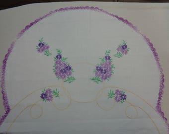 Beautiful Purple Embroidered -Vintage Dresser Scarf