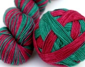 """Self Striping Sock Yarn, Superwash Merino, Nylon and Silver Stellina Fingering Weight, in """"Holly and Ivy"""""""