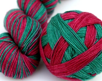 "Self Striping Sock Yarn, Superwash Merino, Nylon and Silver Stellina Fingering Weight, in ""Holly and Ivy"""