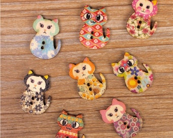 "30 PC Painted wood buttons 27mm - Wooden Buttons ,tree buttons, natural wood buttons ""cat"" A039"