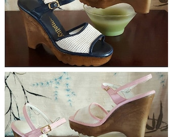 1960s Wedges Pink and White / Blue and White Vintage Shoes Wedge Sandles Petite Womens size 4 or Girls size 2