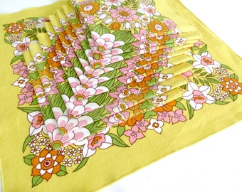 10 Retro Dinner Napkins, 1970s Flower Power Table Linens, Yellow Pink Green Cotton Napkins, Vintage Linens by TheSweeetBasilShoppe