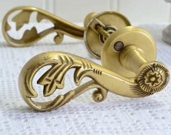 Pierced brass door handle, vintage Swedish house decoration, front door accessory