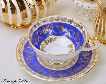 Salisbury Royal Blue Teacup and Saucer Set,  Vintage English Bone China Tea Cup Set, Wedding Gift, ca. 1927-1961