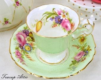 E.B Foley Textured Pale Green Teacup and Saucer Set, English Bone China Tea Cup, ca. 1948-1963