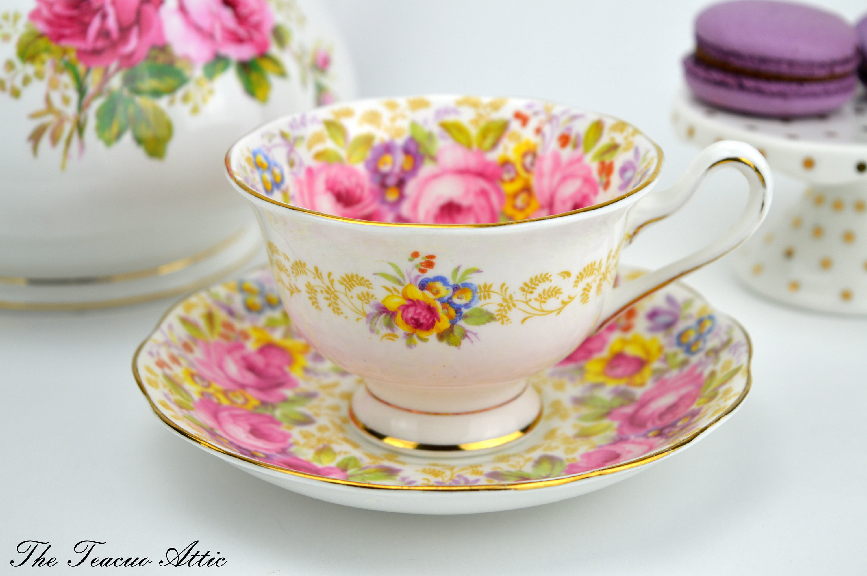 Royal Albert Teacup And Saucer Serena Pattern, English Bone China Tea Cup, ca. 1941-1998