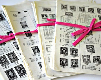 International Postage Stamp Catalog Pages -- 40 Vintage Sheets for Collage, Mixed Media, Decoupage Art Projects