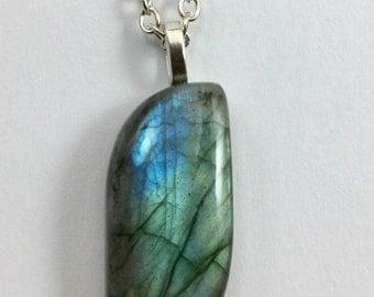 Labradorite Gemstone Pendant Necklace-Labradorite Cabochon Necklace-Gemstone Necklace-Blue flash labradorite cabochon-your choice of chain