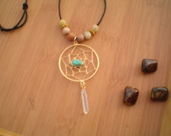 Dreamcatcher Necklace, Gold & Turquoise, Boho Pendant Necklace, Cord Necklace, charm necklace, Beaded Soapstone,Turquoise,  Crystal Point