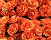 Set of 12 Orange Mulberry Paper Flowers