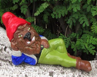Beastly goblin altered yard art gnome sculpture