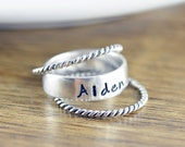 Mothers Ring - Stackable Name Rings - Gift for Mom - Name Rings - Personalized Stacking Ring - Mothers Jewelry - Mothers Ring