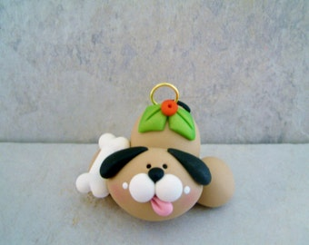 Dog and Bone - Polymer Clay - Christmas - Holiday Ornament