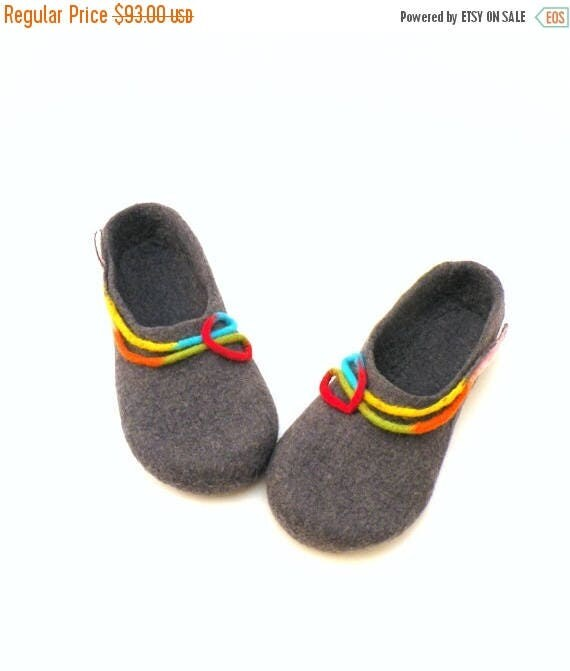 Felted wool slippers for women - handmade wool clogs - grey rainbow colorful slipper - made to order - Mothers day gift