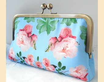 Wedding clutch bag, handmade with pink roses on blue print, antique brass or silver frame, bridal purse with optional personalisation