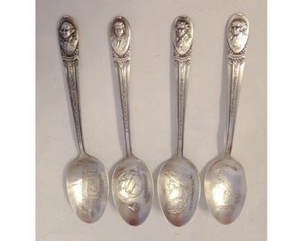 4 Silver Plated Souvenir Spoons Adams Jefferson JFK Washington Wm Rogers Mfg Co