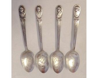 4 Silver Plated Souvenir Spoons Adams Jefferson JFK Washington Wm Rogers Mfg Co
