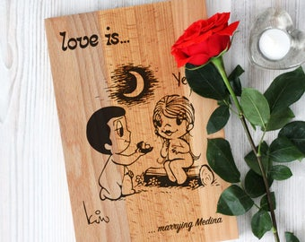 Custom cutting board - LOVE IS - Wedding cutting board - I Do - You & Me
